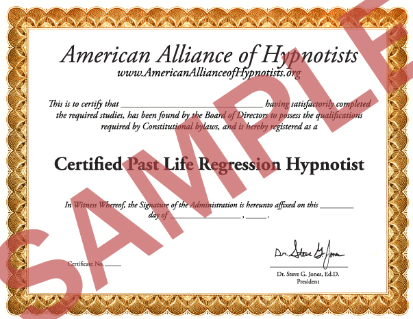 Past Life Regression Hypnosis Certification By Dr. Steve G. Jones.
